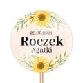 Toppery pikery na tort babeczki personalizowane dekor urodziny roczek kwiatowe słoneczniki