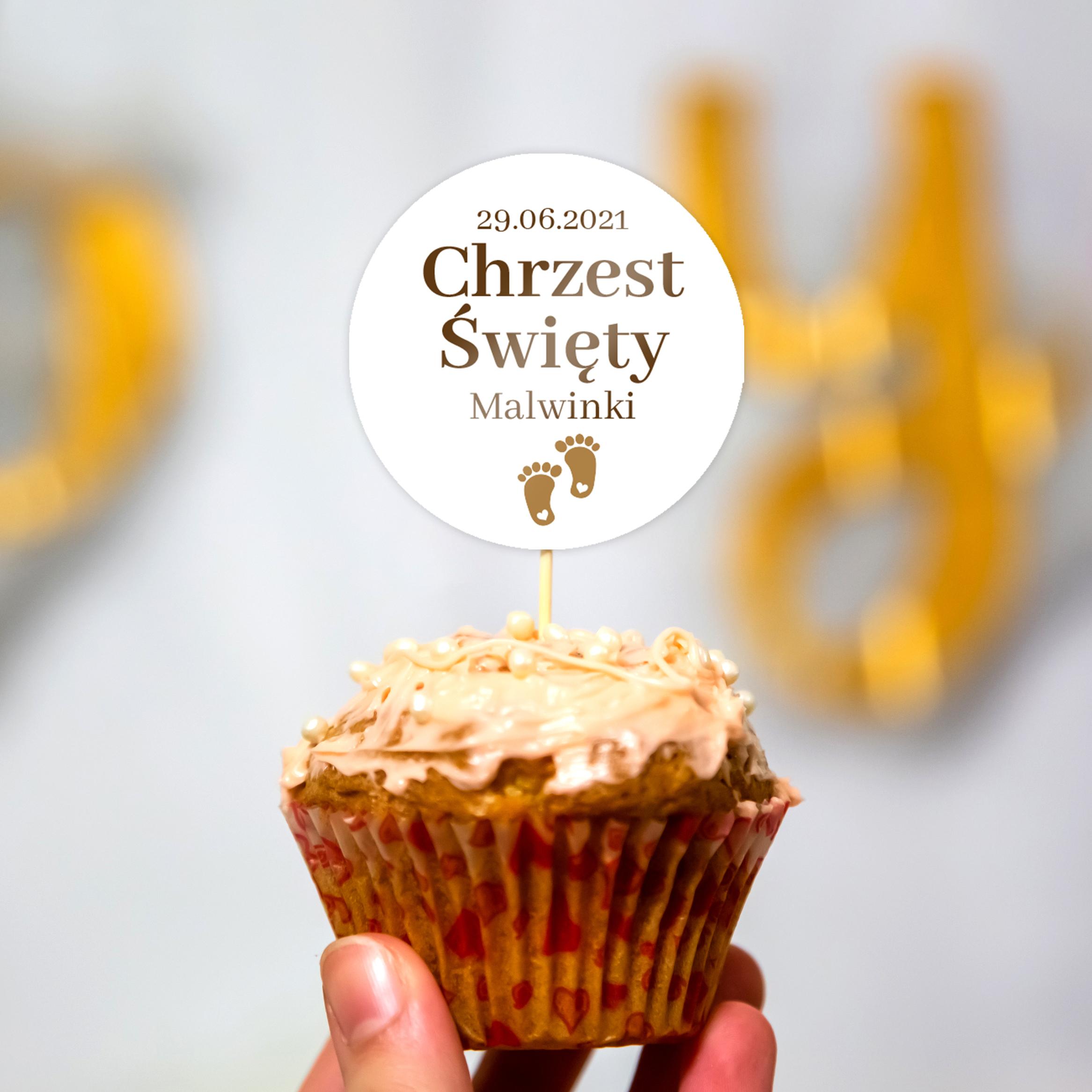 Toppery pikery na tort babeczki personalizowane dekor chrzest chrzciny złote stopki