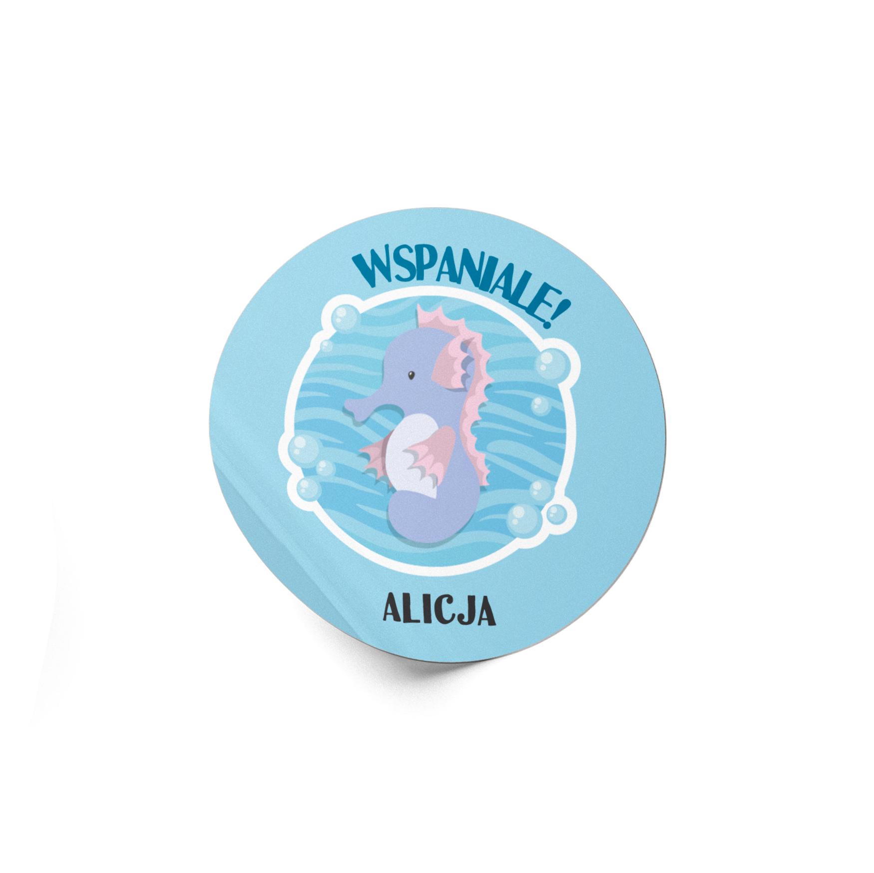 Naklejki motywacyjne dla dzieci szkolne naklejki z imieniem dziecka wspaniale konik morski