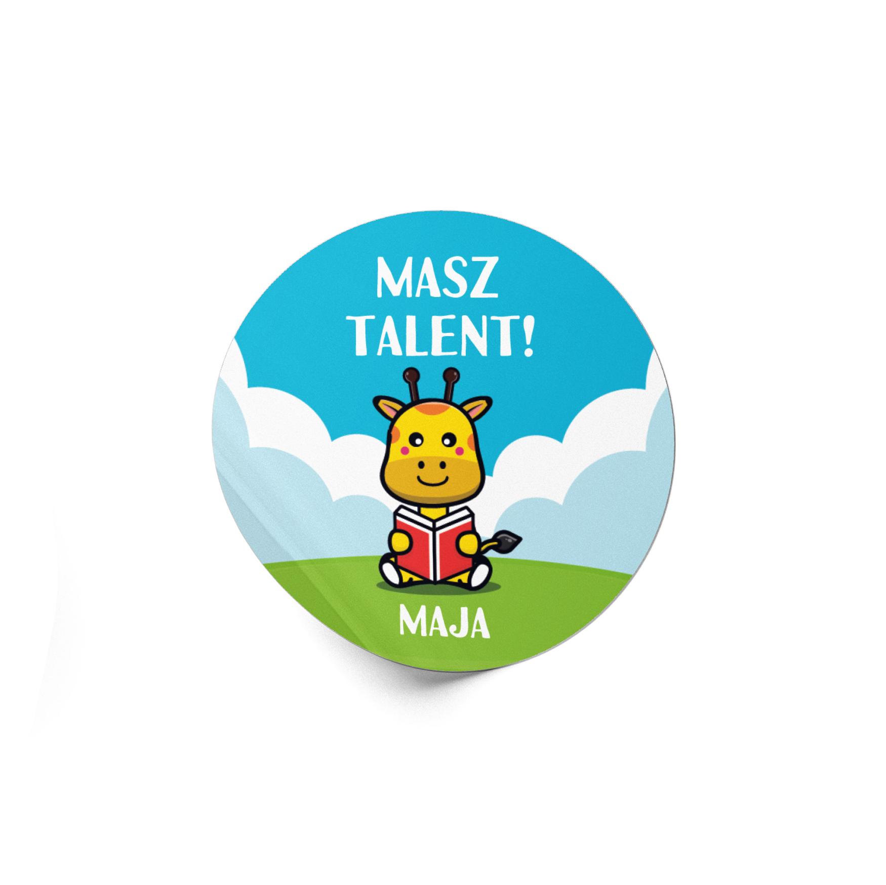Naklejki motywacyjne dla dzieci szkolne naklejki z imieniem dziecka masz talent żyrafa