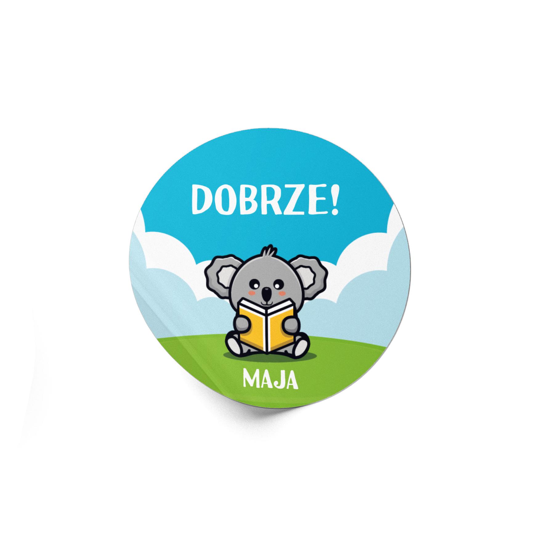 Naklejki motywacyjne dla dzieci szkolne naklejki z imieniem dziecka dobrze koala