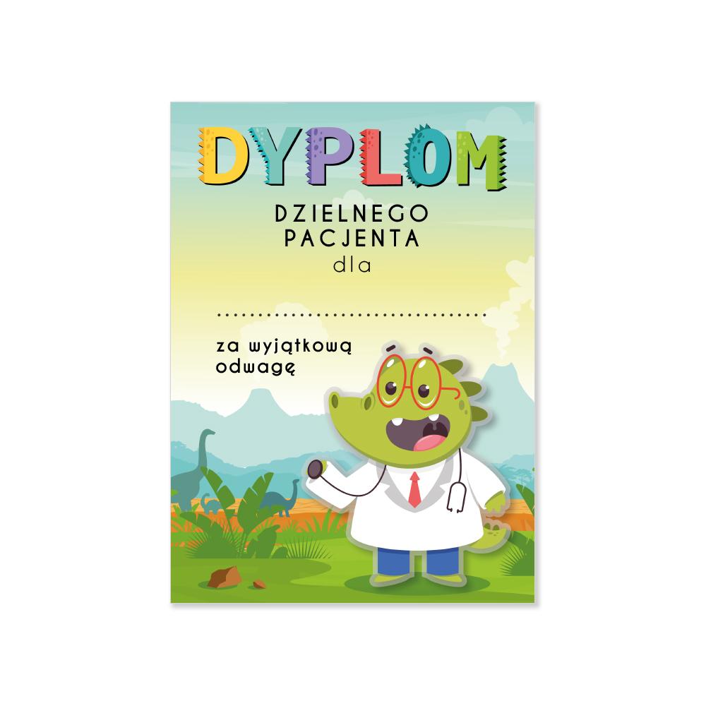 Dyplom dzielnego pacjenta z imieniem dziecka zielony dinozaur 4 szt.