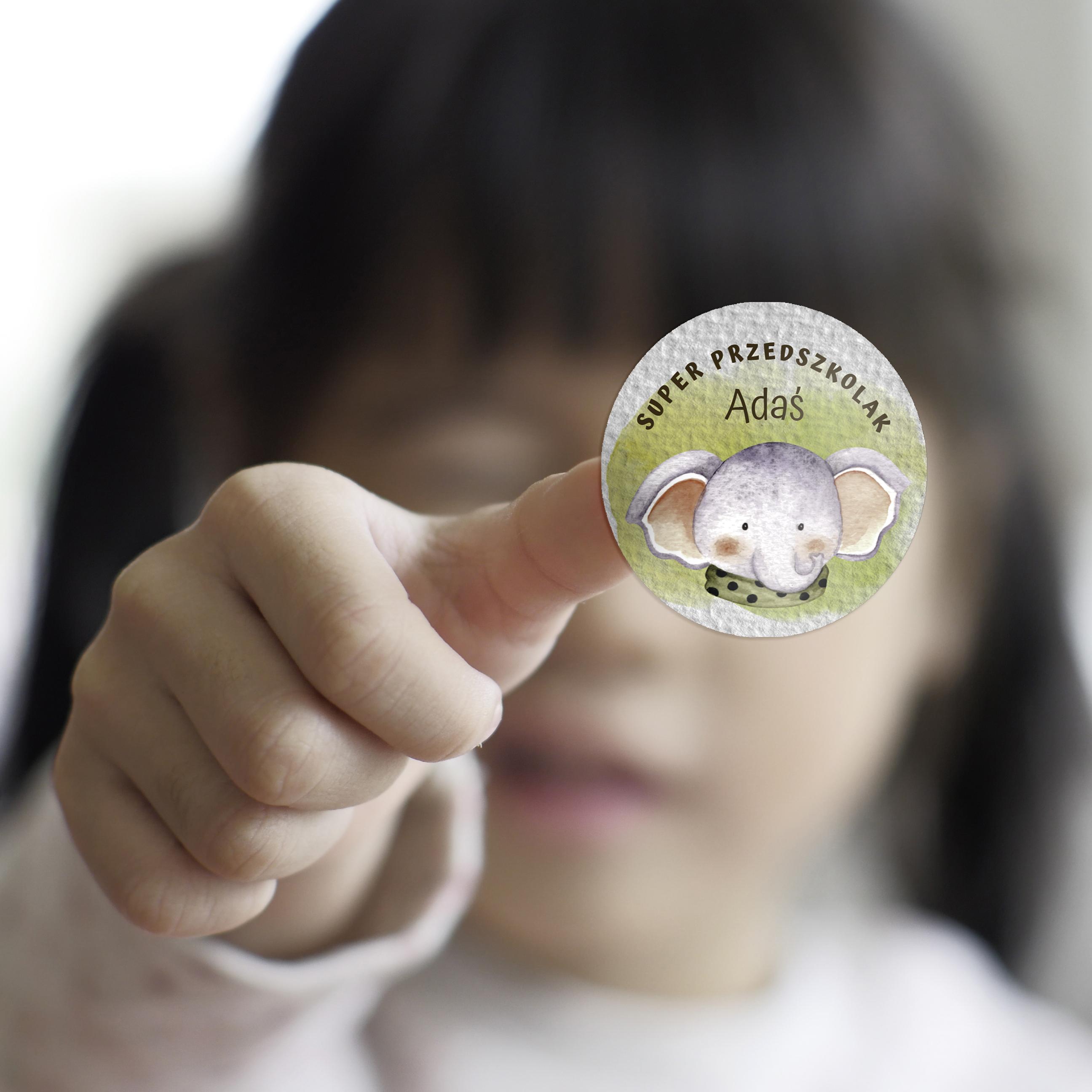 Naklejki dla przedszkolaka naklejki motywacyjne super przedszkolak słonik