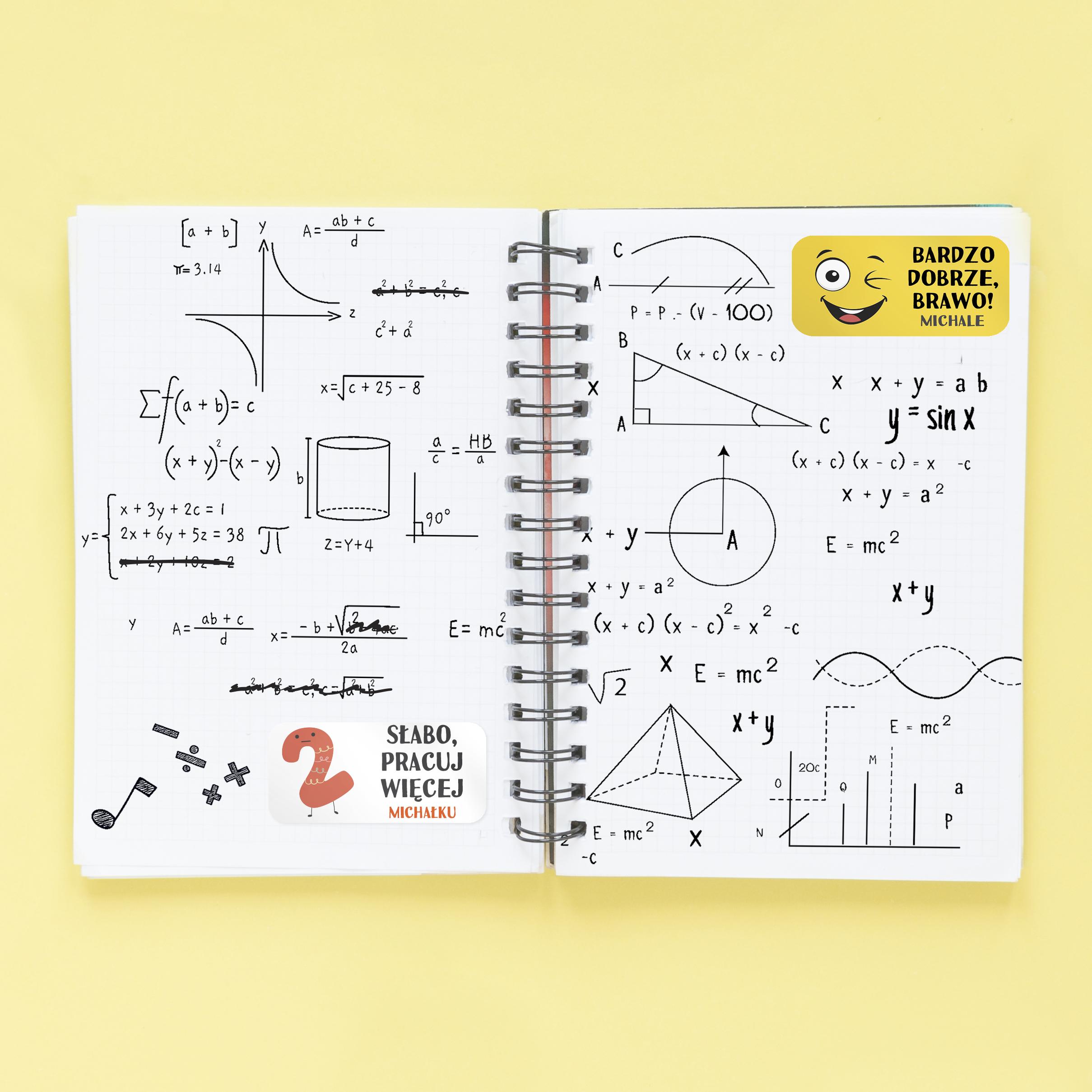 Naklejki motywacyjne dla dzieci z imieniem prostokątne oceny dwójka pracuj więcej