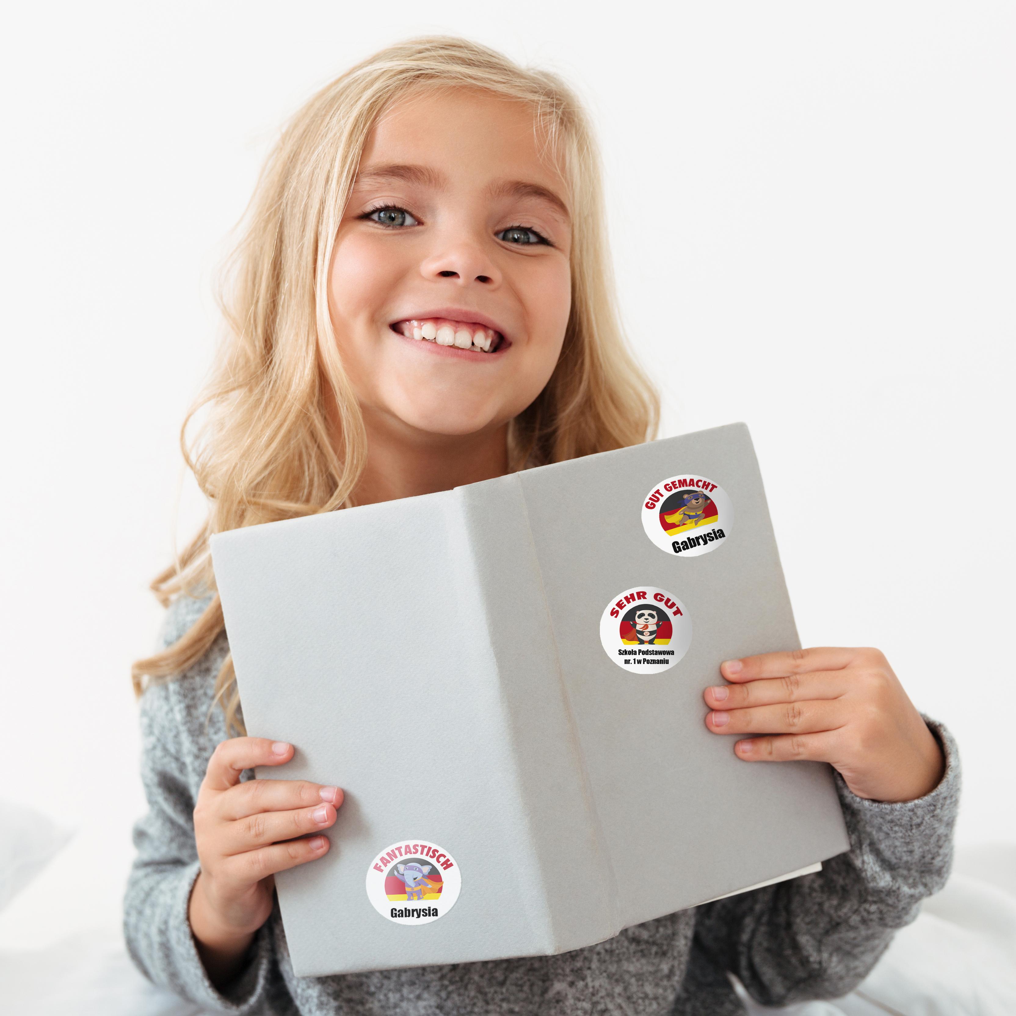 Naklejki motywacyjne dla dzieci szkolne naklejki z imieniem dziecka j. niemiecki słonik
