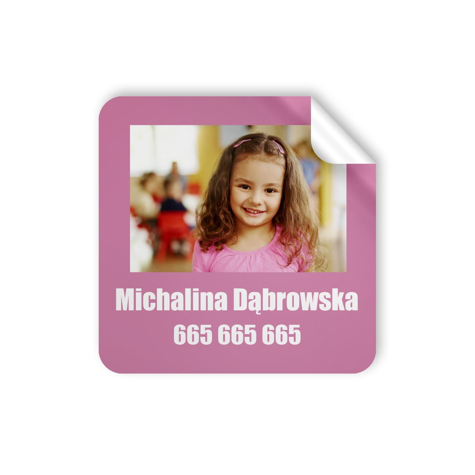 Naklejki szkolne z imieniem zdjęciem dziecka wodoodporne imienniki na przybory i zeszyty dla dziewczynki