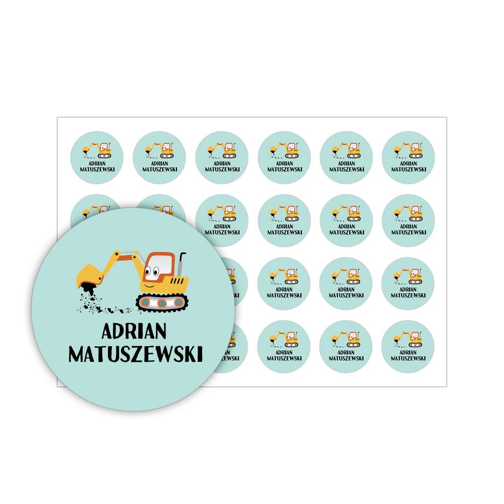 Naklejki szkolne imienne okrągłe wodoodporne imienniki na przybory dla uczniów koparka