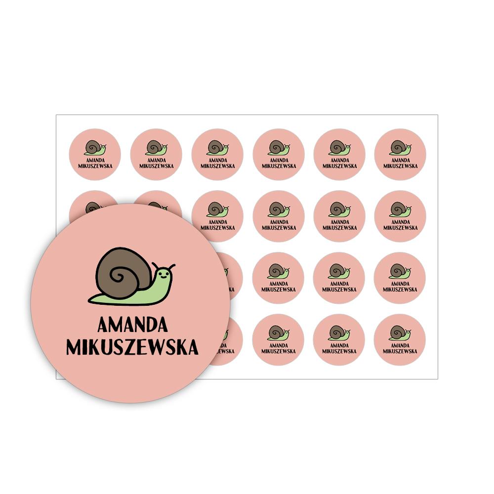 Naklejki szkolne imienne okrągłe wodoodporne imienniki na przybory dla uczniów ślimak