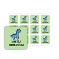 Naklejki szkolne imienne kwadratowe wodoodporne imienniki na przybory dla uczniów niebieski dinozaur