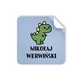 Naklejki szkolne imienne kwadratowe wodoodporne imienniki na przybory dla uczniów zielony dinozaur