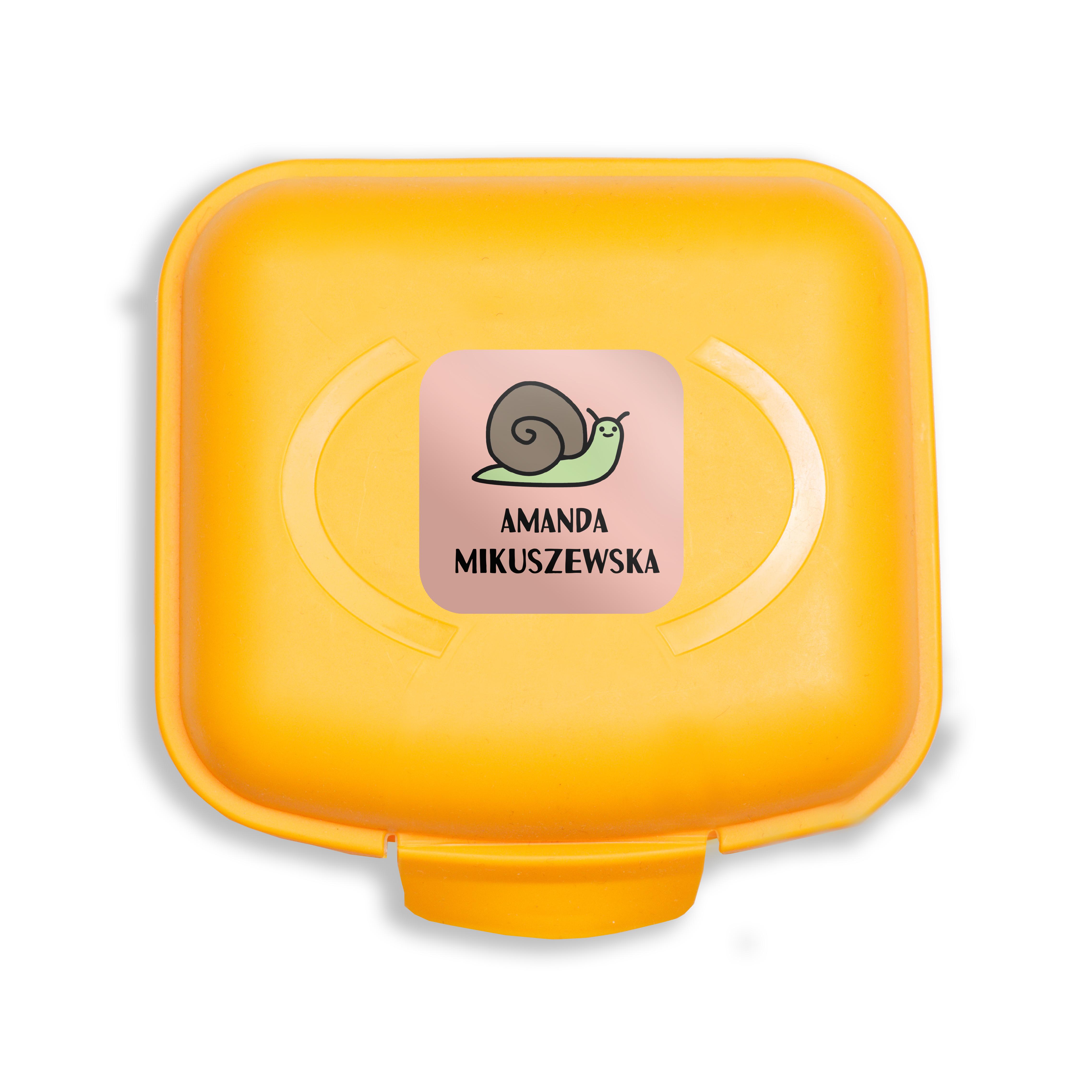 Naklejki szkolne imienne kwadratowe wodoodporne imienniki na przybory dla uczniów ślimak