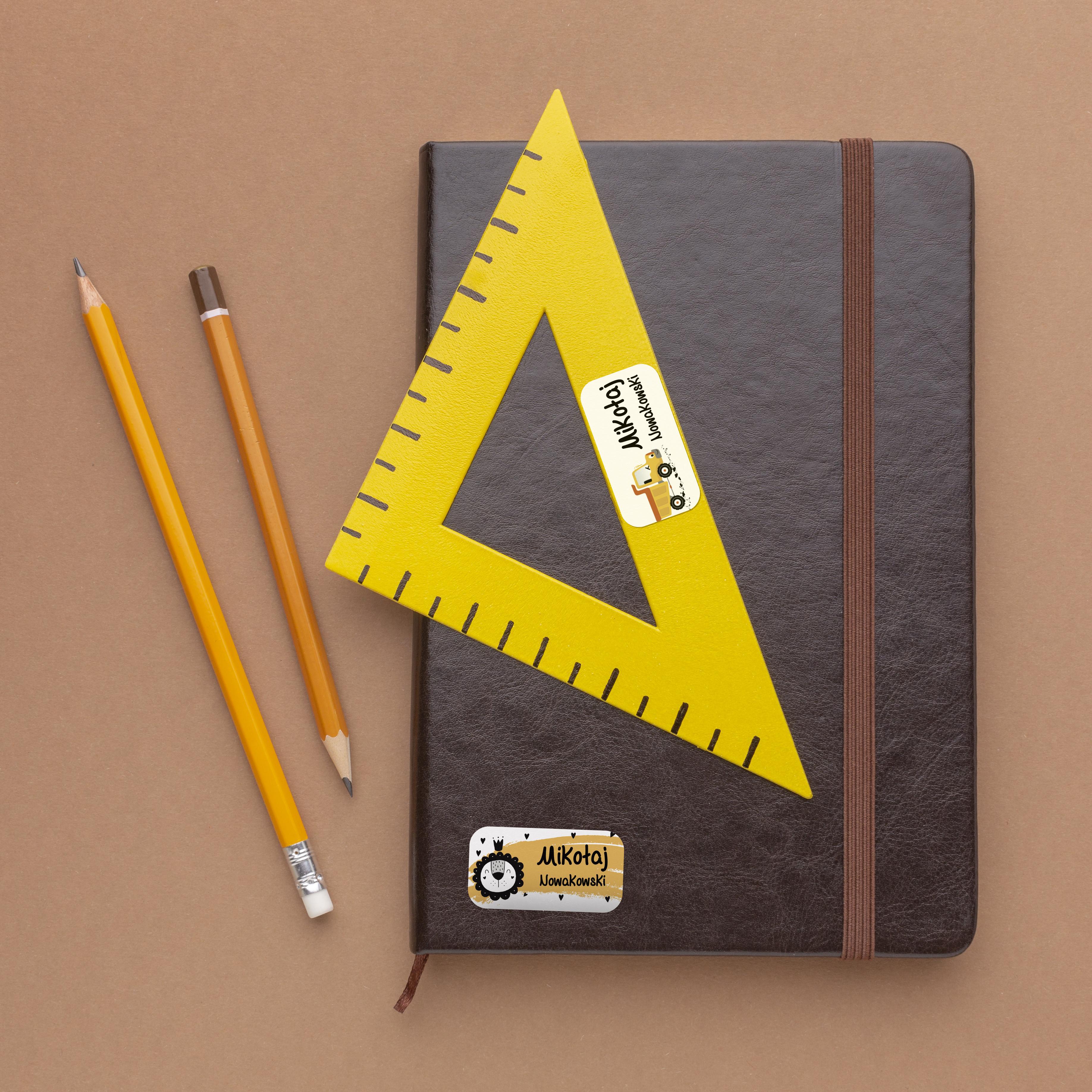 Naklejki szkolne imienne imienniki na zeszyty przybory szkolne twój własny nadruk