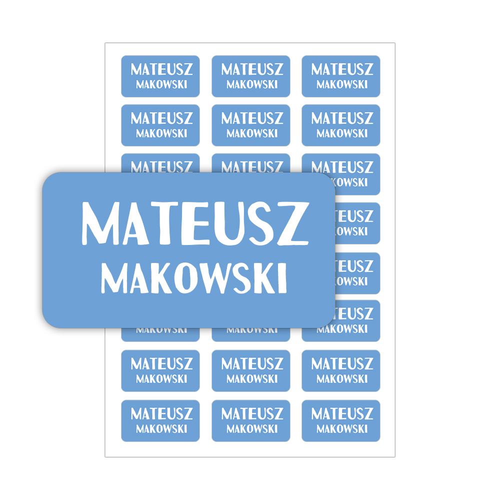 Naklejki szkolne imienne imienniki na zeszyty przybory szkolne dla chłopca niebieskie