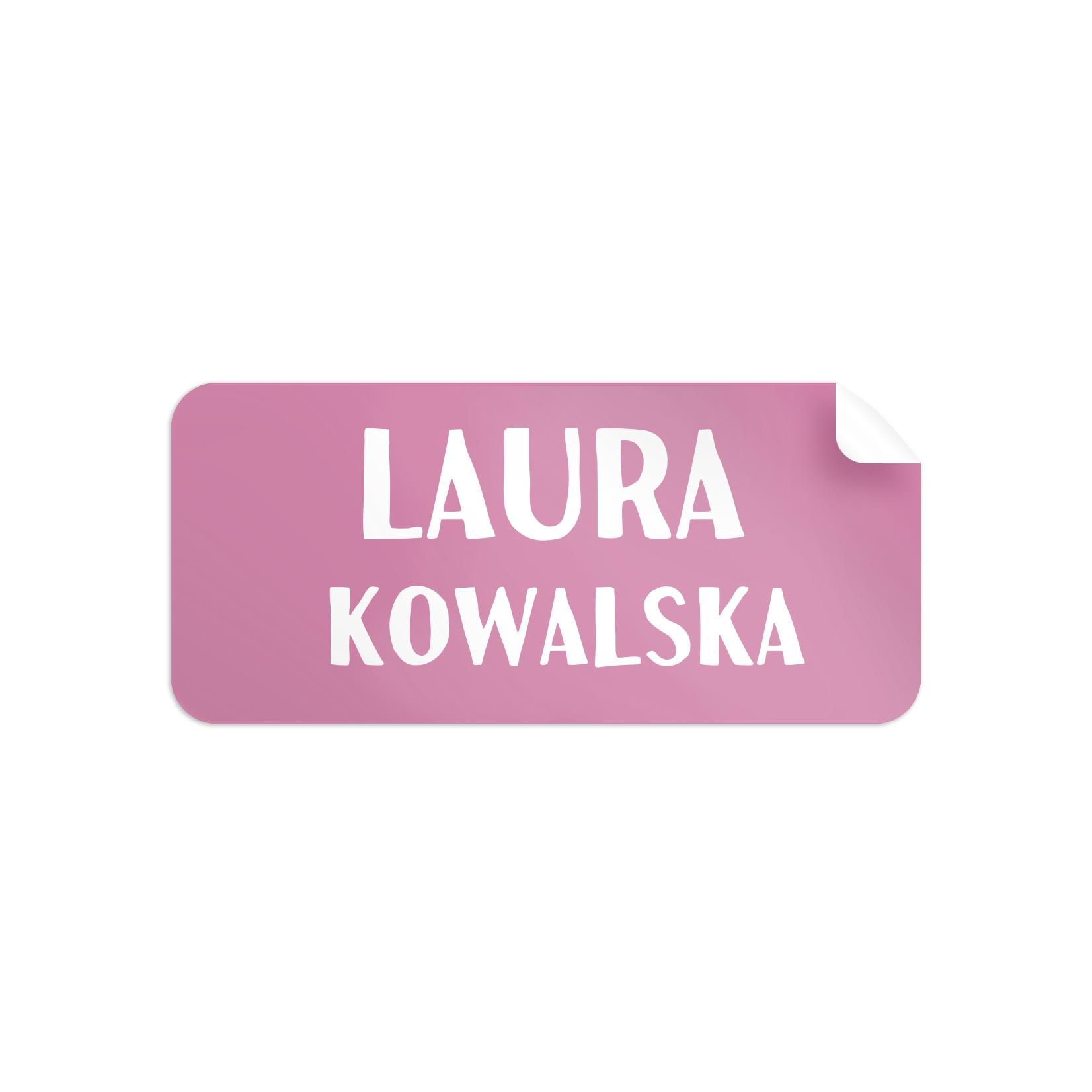 Naklejki szkolne imienne imienniki na zeszyty przybory szkolne dla dziewczynki różowe