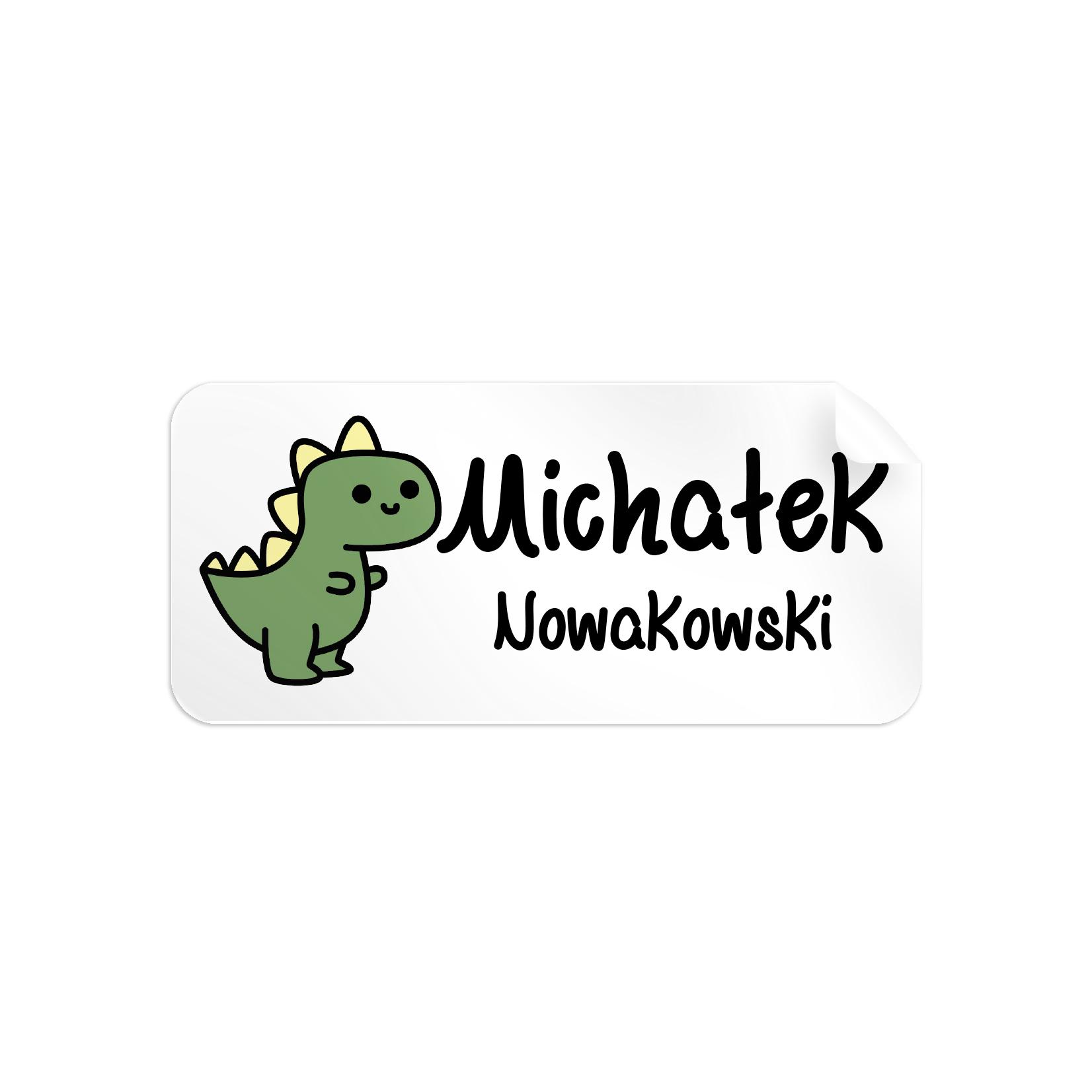 Naklejki szkolne imienne imienniki na zeszyty przybory szkolne dinozaur zielony