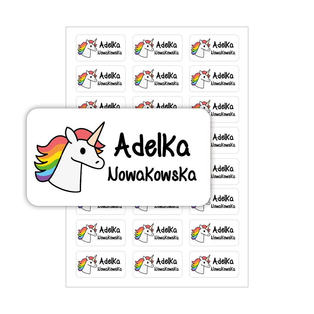 Naklejki szkolne imienne imienniki na zeszyty przybory szkolne jednorożec unicorn