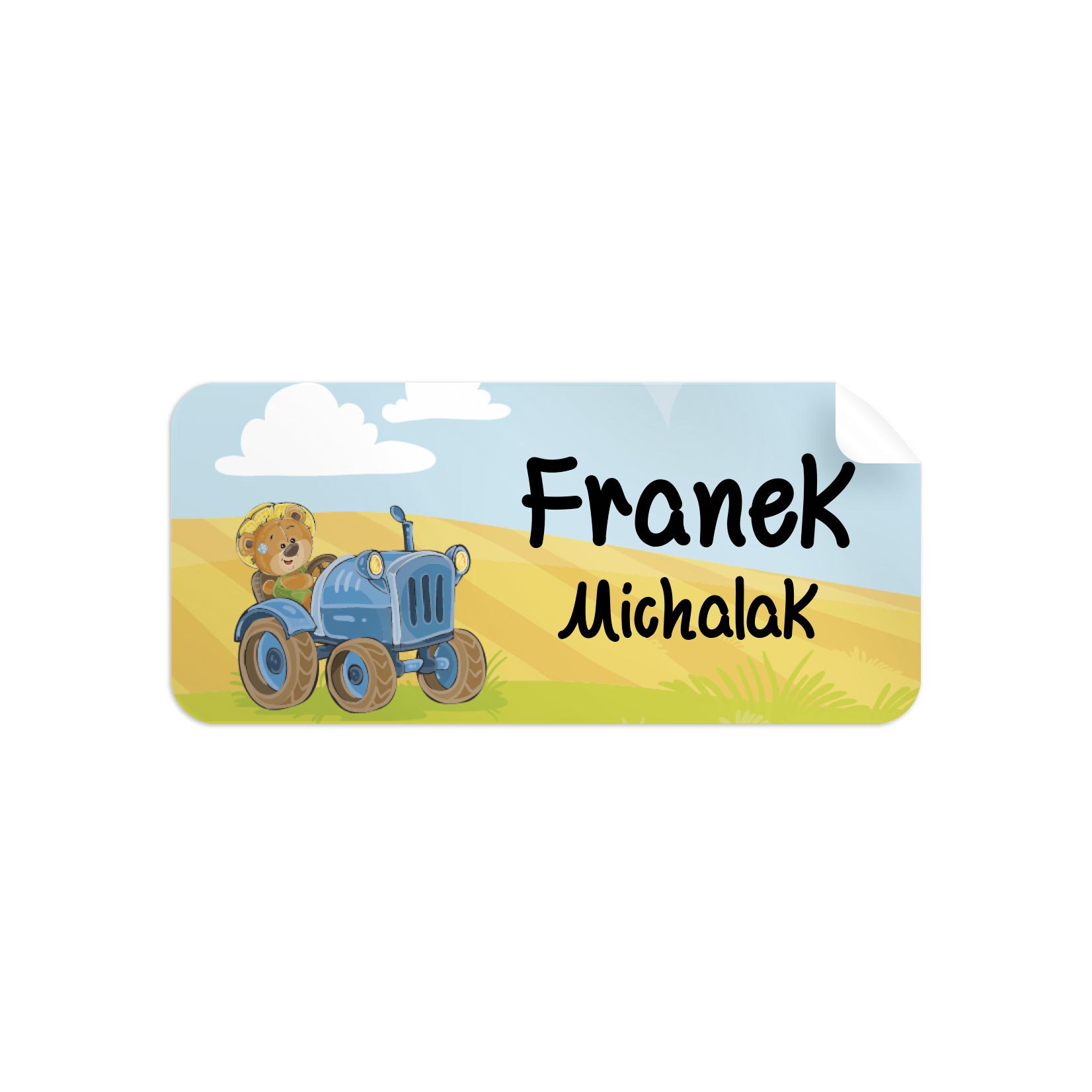 Naklejki szkolne imienne imienniki na zeszyty przybory szkolne traktor
