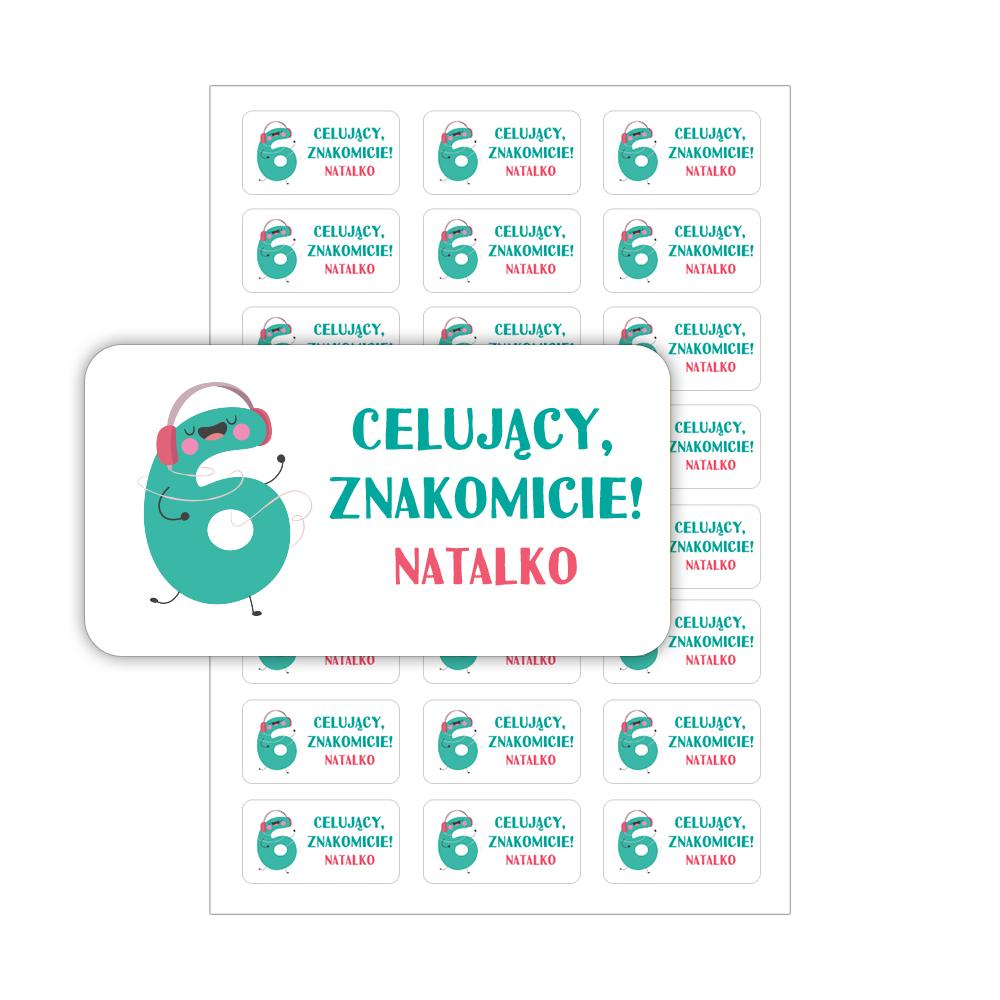 Naklejki motywacyjne dla dzieci z imieniem prostokątne oceny szóstka celujący