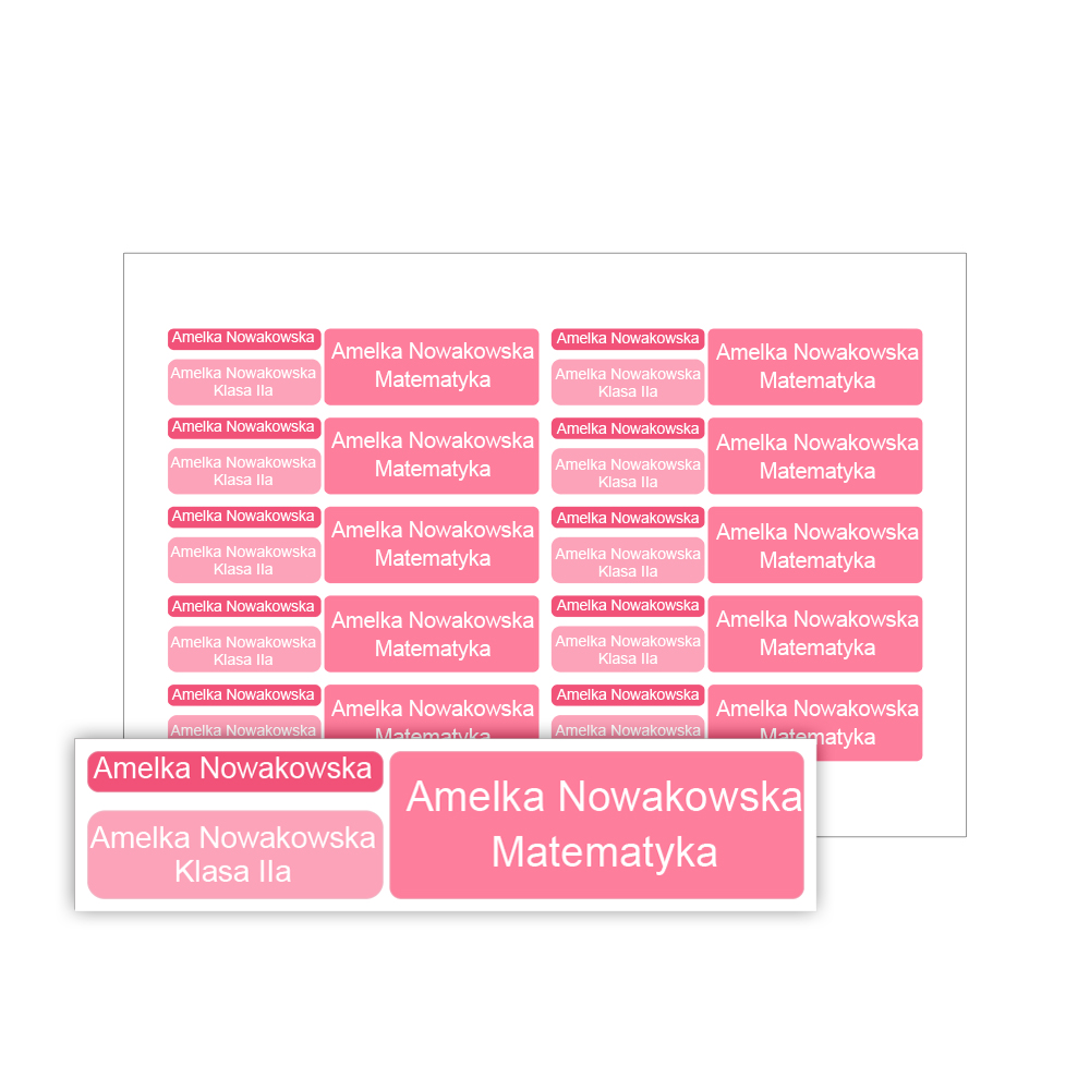 Naklejki szkolne imienne wodoodporne imienniki na przybory dla uczniów zestaw różowy