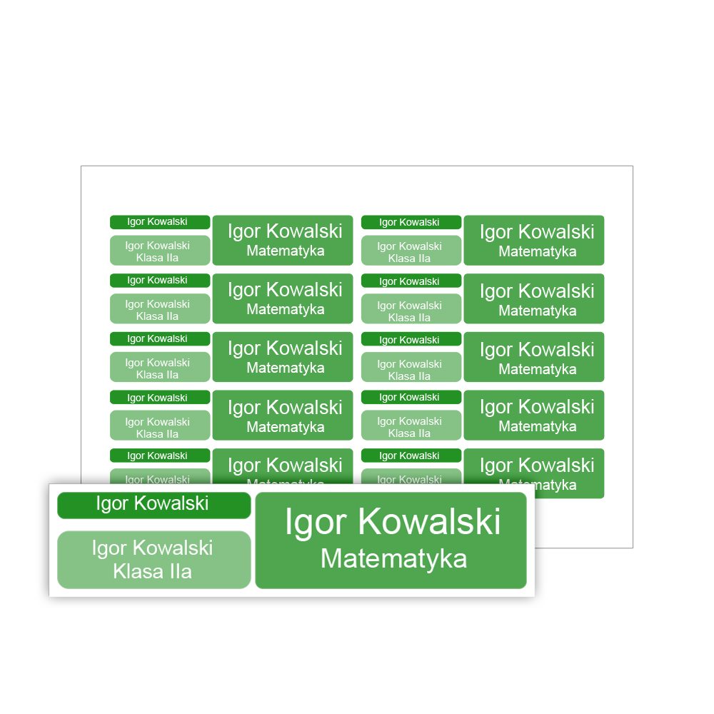 Naklejki szkolne imienne wodoodporne imienniki na przybory dla uczniów zestaw zielony