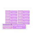 Naklejki szkolne imienne wodoodporne imienniki na przybory dla uczniów zestaw fioletowy