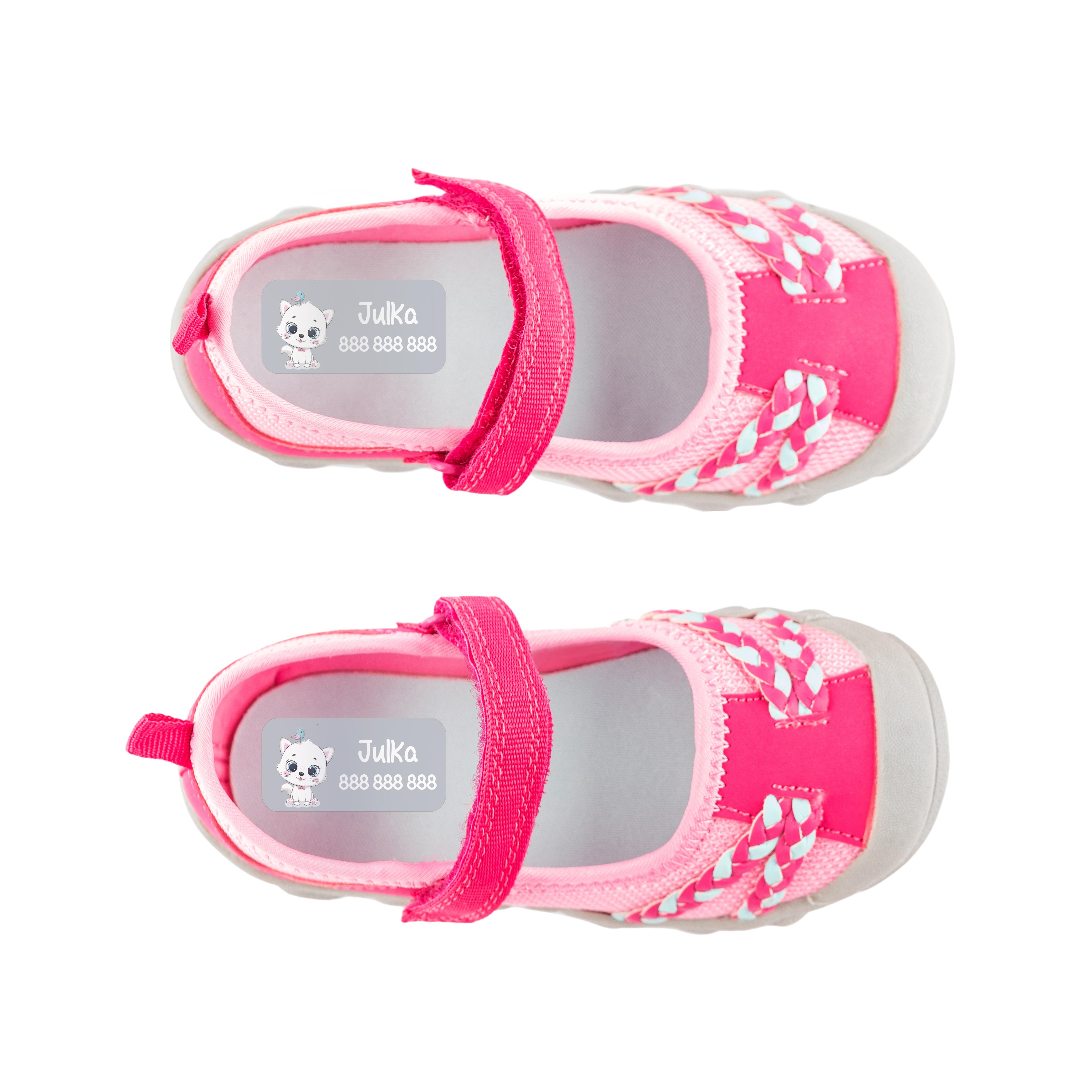 Naklejki imienne do butów imienniki metki na buty obuwie do dzieci kotek