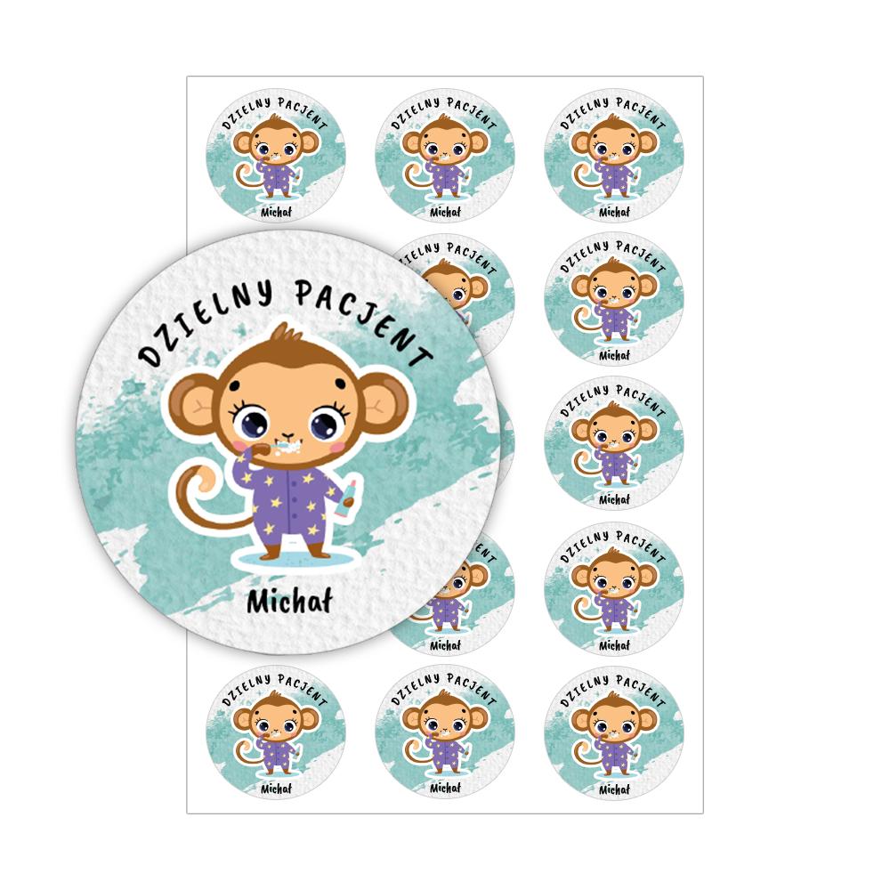 Naklejki dzielny pacjent dla dzieci z imieniem małpka