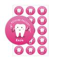 Naklejki dzielny pacjent dla dzieci z imieniem czyste ząbki