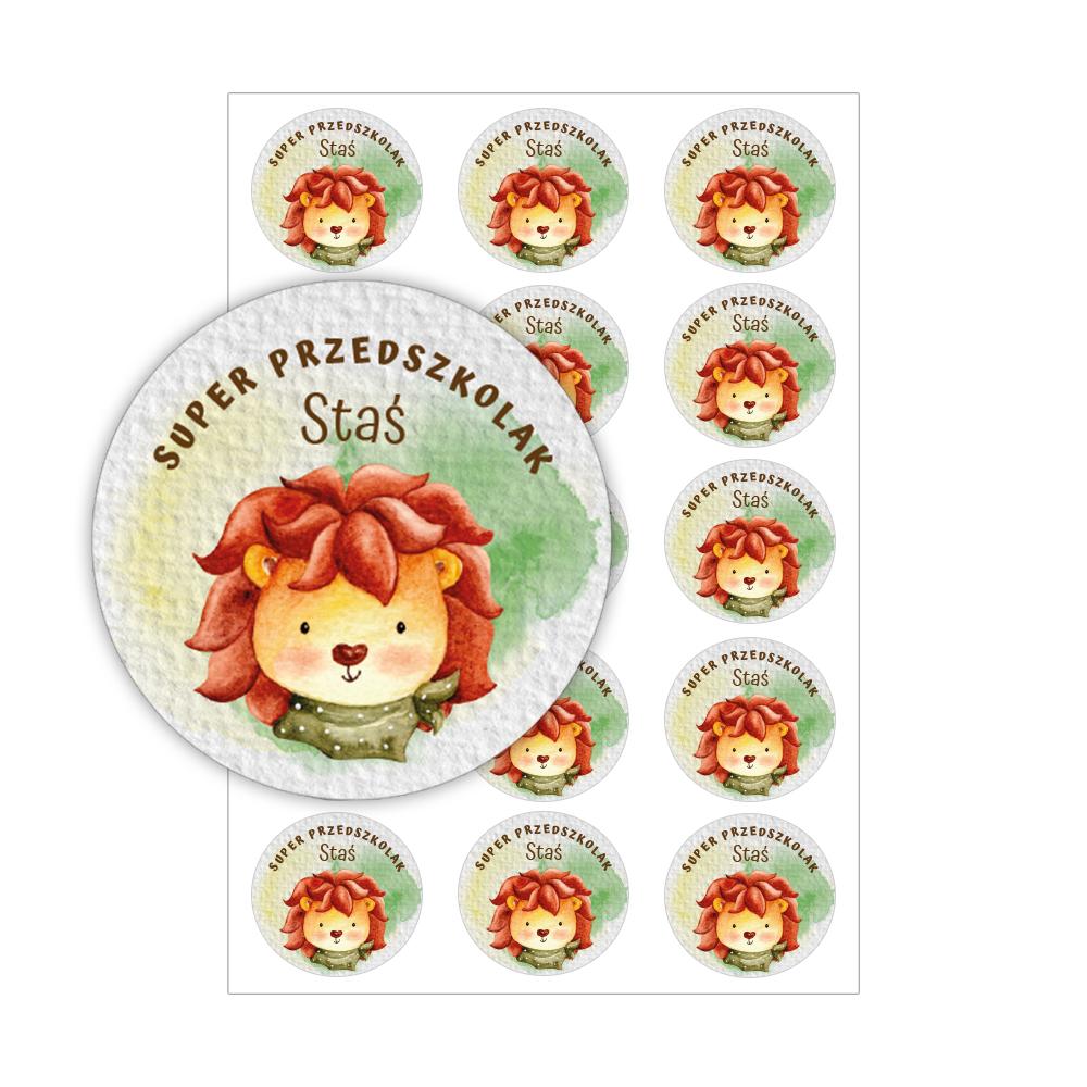 Naklejki dla przedszkolaka naklejki motywacyjne super przedszkolak lew