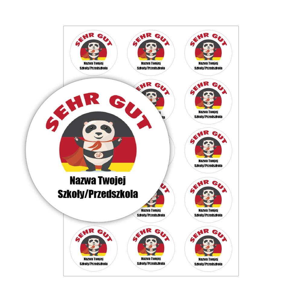 Naklejki motywacyjne dla dzieci szkolne naklejki z imieniem dziecka j. niemiecki panda