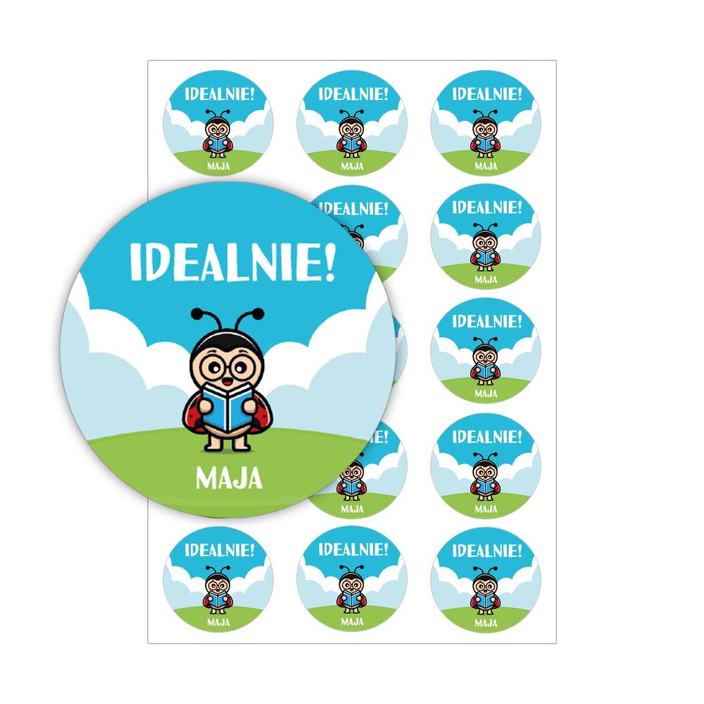 Naklejki motywacyjne dla dzieci szkolne naklejki z imieniem dziecka idealnie biedronka