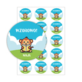 Naklejki motywacyjne dla dzieci szkolne naklejki z imieniem dziecka wzorowo małpa