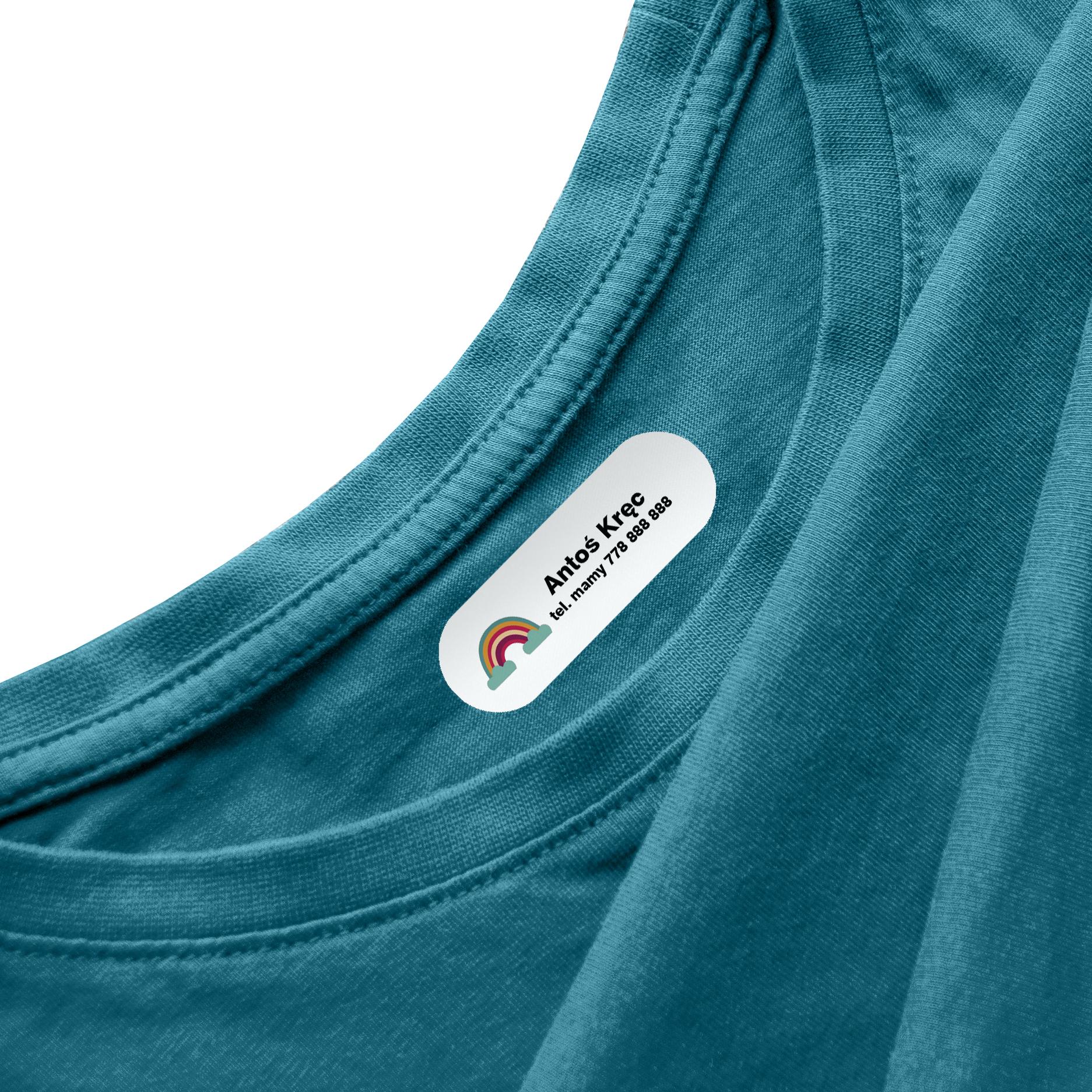 Naprasowanki na ubrania naprasowanka imienna metki dla dziecka tęcza z chmurką