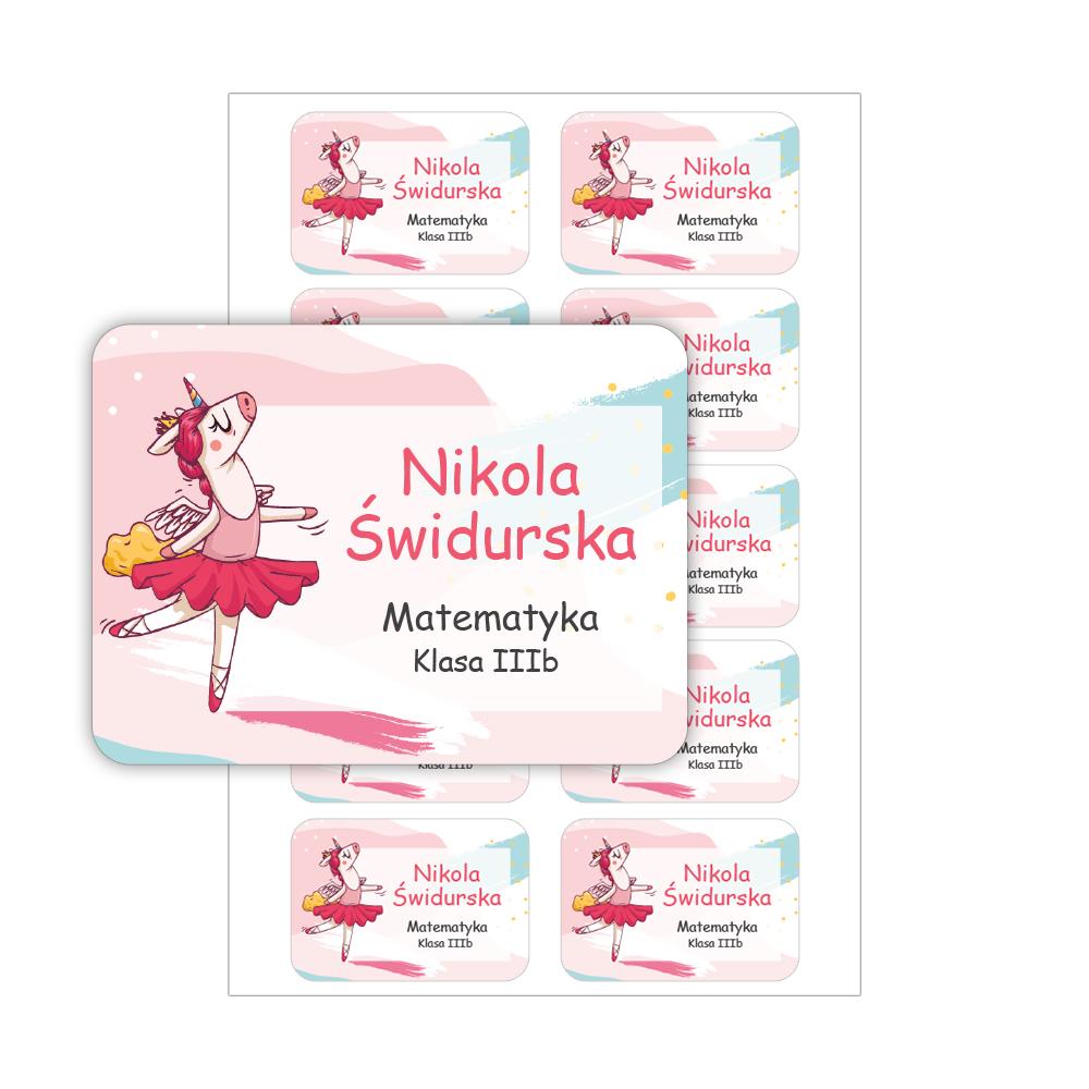 Naklejki na zeszyt książki podręczniki nalepki imienne etykiety personalizowane baletnica