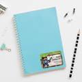 Naklejki na zeszyt książki podręczniki nalepki imienne etykiety personalizowane pixel gra