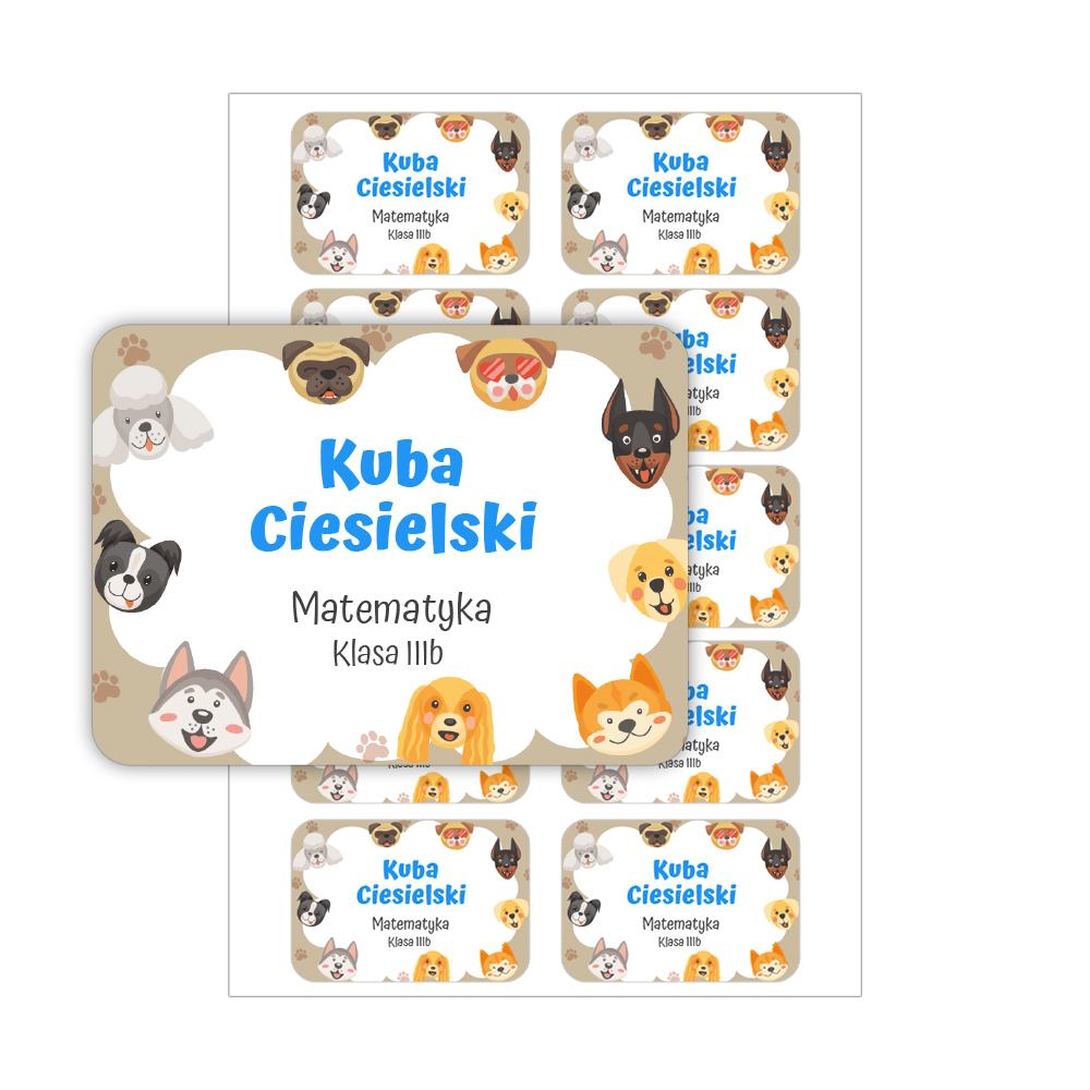 Naklejki na zeszyt książki podręczniki nalepki imienne etykiety personalizowane psy