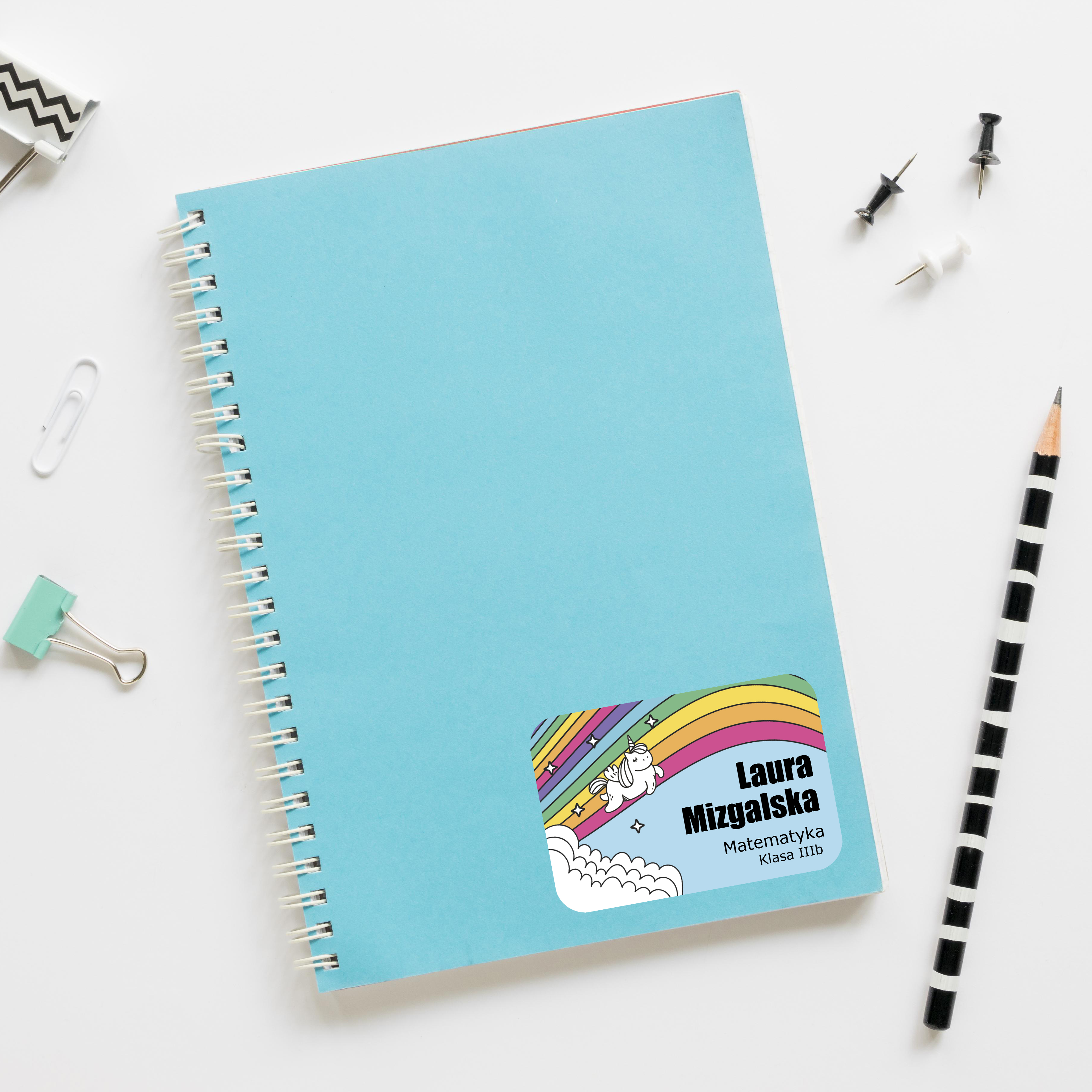 Naklejki na zeszyt książki podręczniki nalepki imienne etykiety personalizowane jednorożec