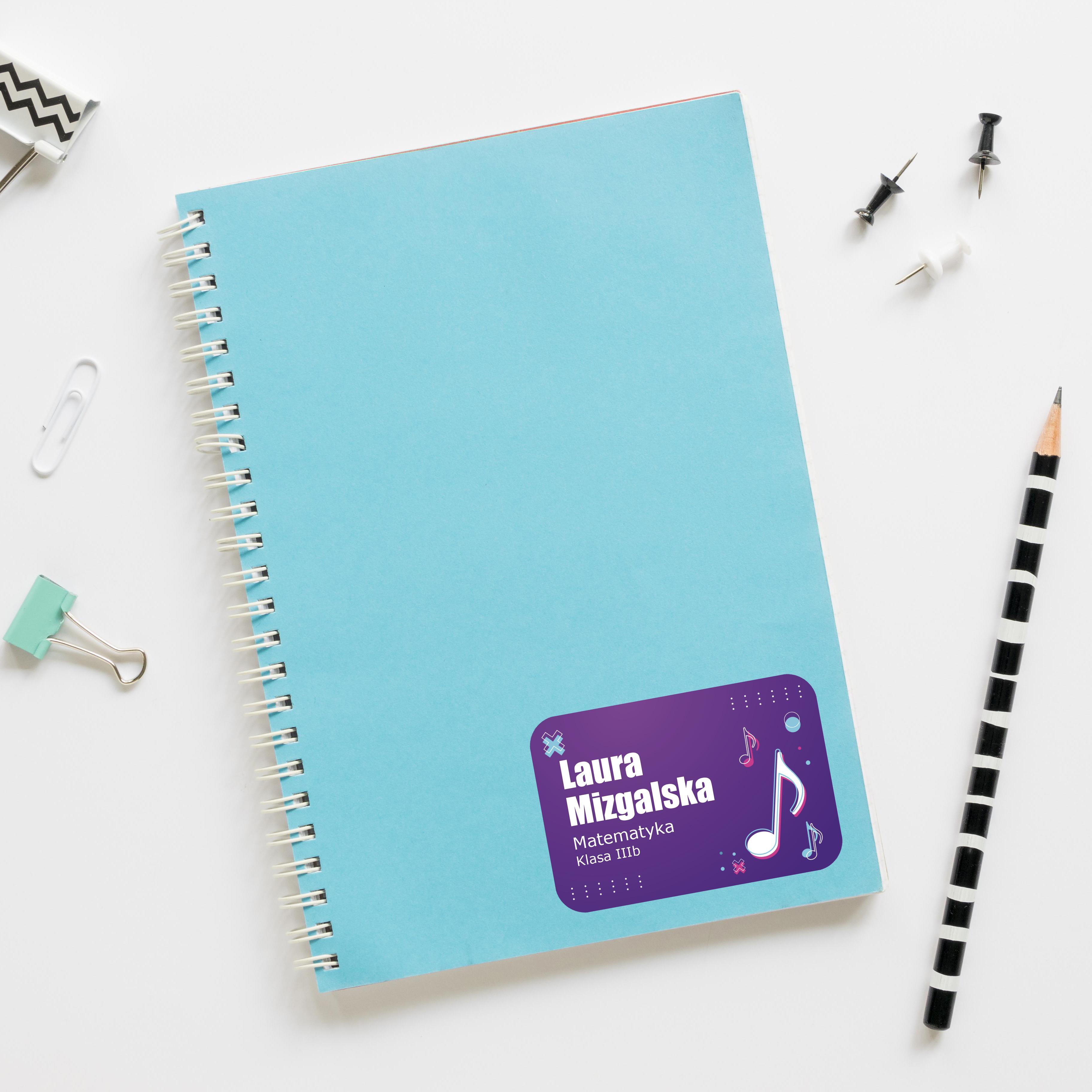 Naklejki na zeszyt książki podręczniki nalepki imienne etykiety personalizowane nuty