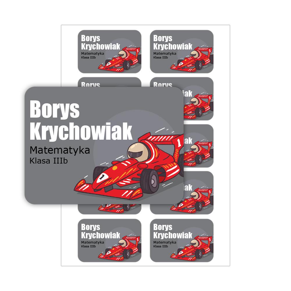 Naklejki na zeszyt książki podręczniki nalepki imienne etykiety personalizowane samochód wyścigówka