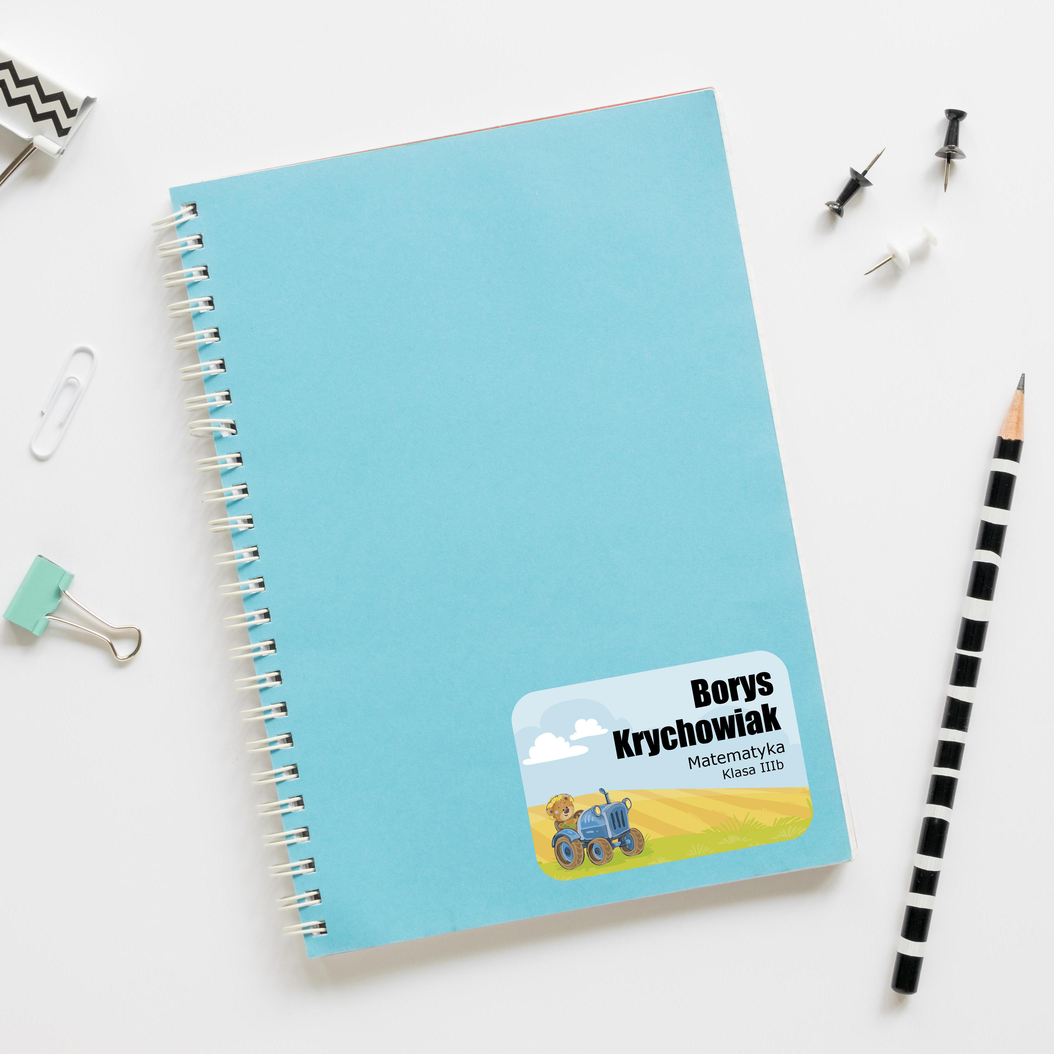 Naklejki na zeszyt książki podręczniki nalepki imienne etykiety personalizowane traktor
