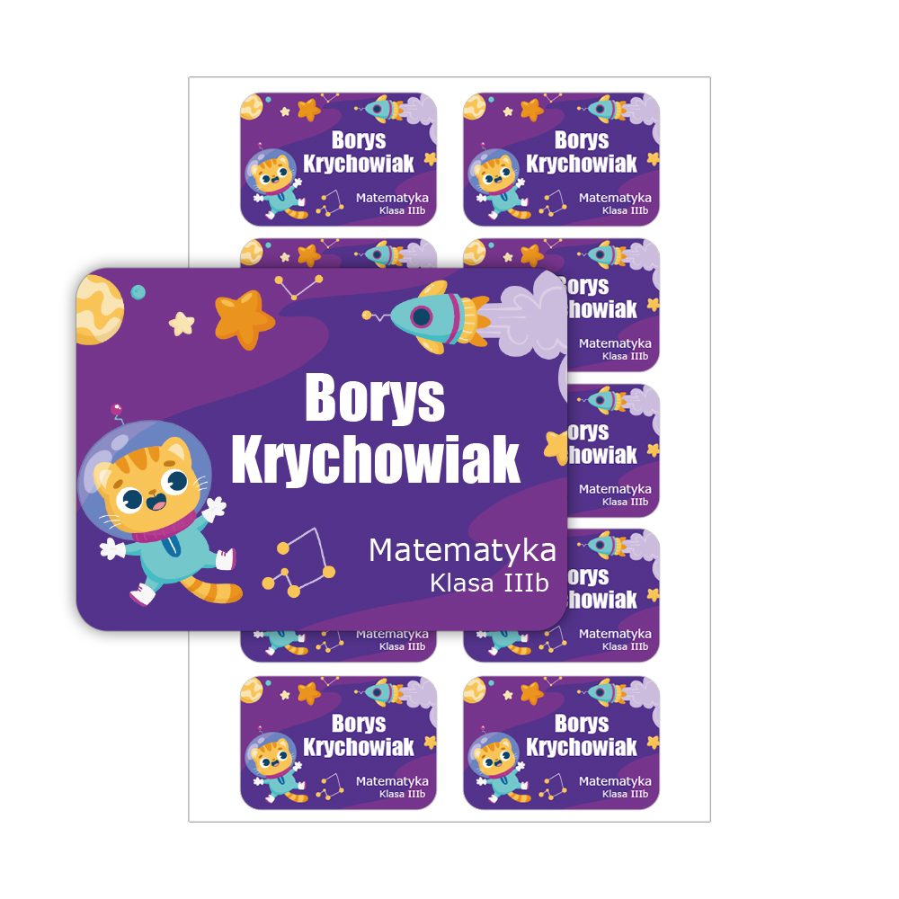Naklejki na zeszyt książki podręczniki nalepki imienne etykiety personalizowane astronauta