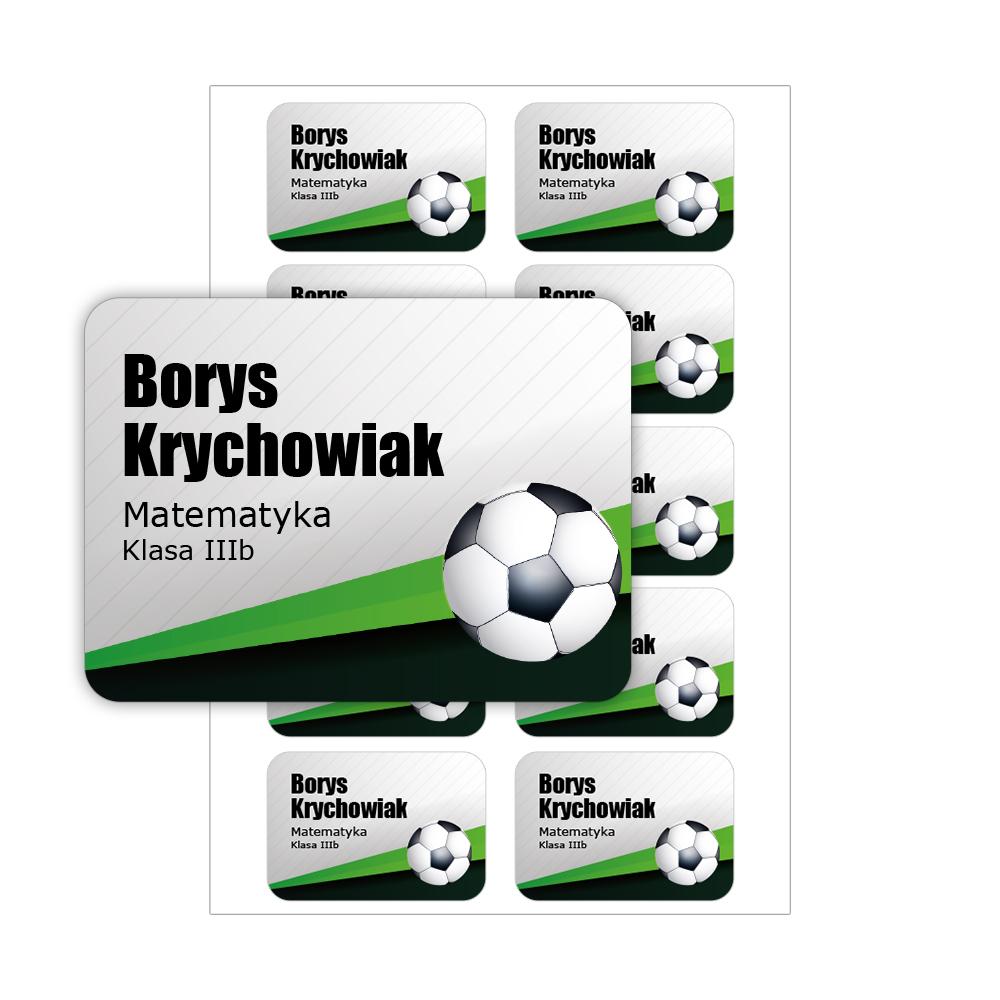 Naklejki na zeszyt książki podręczniki nalepki imienne etykiety personalizowane piłka nożna