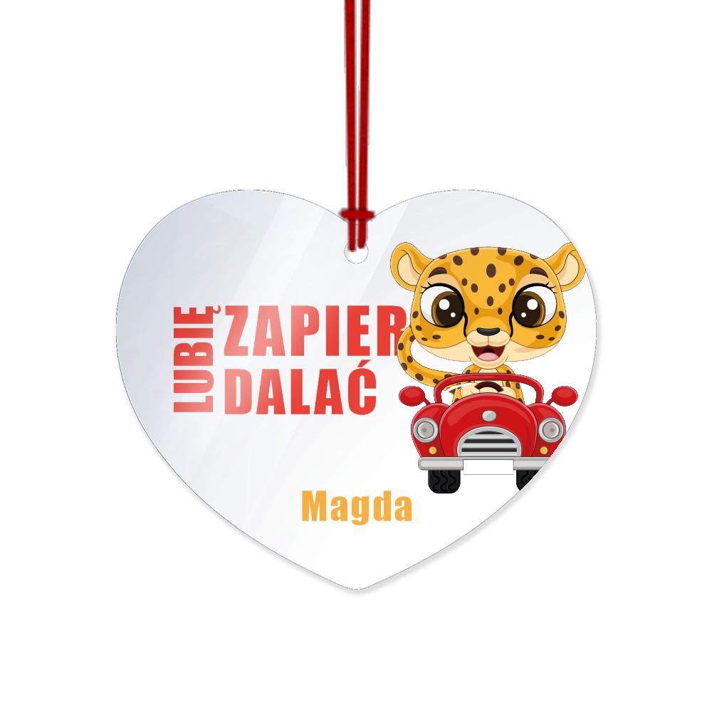 Zawieszka do auta z imieniem pleksi lubię zapierdalać gepard
