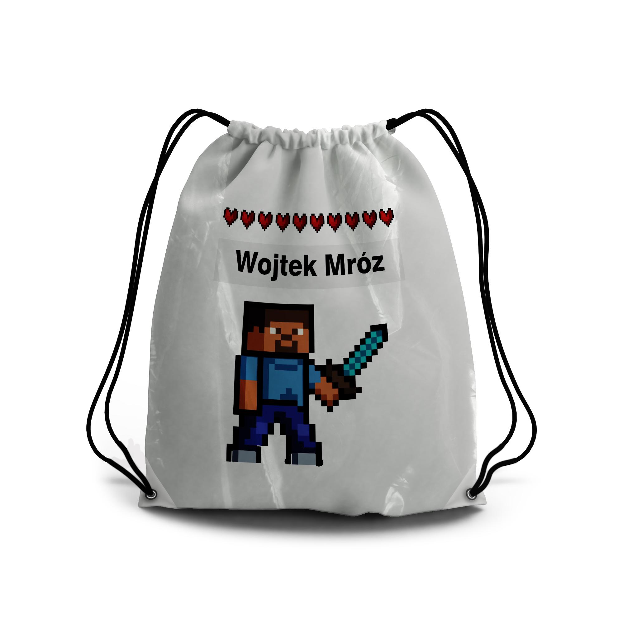 Worek plecak do przedszkola na buty z imieniem dziecka pixel gra