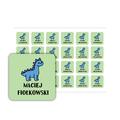 Naklejki szkolne imienne kwadratowe wodoodporne imienniki 3,5 x 3,5 dinozaur