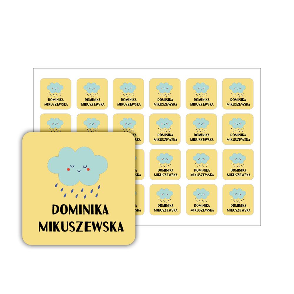 Naklejki szkolne imienne kwadratowe wodoodporne imienniki 3,5 x 3,5 chmurka