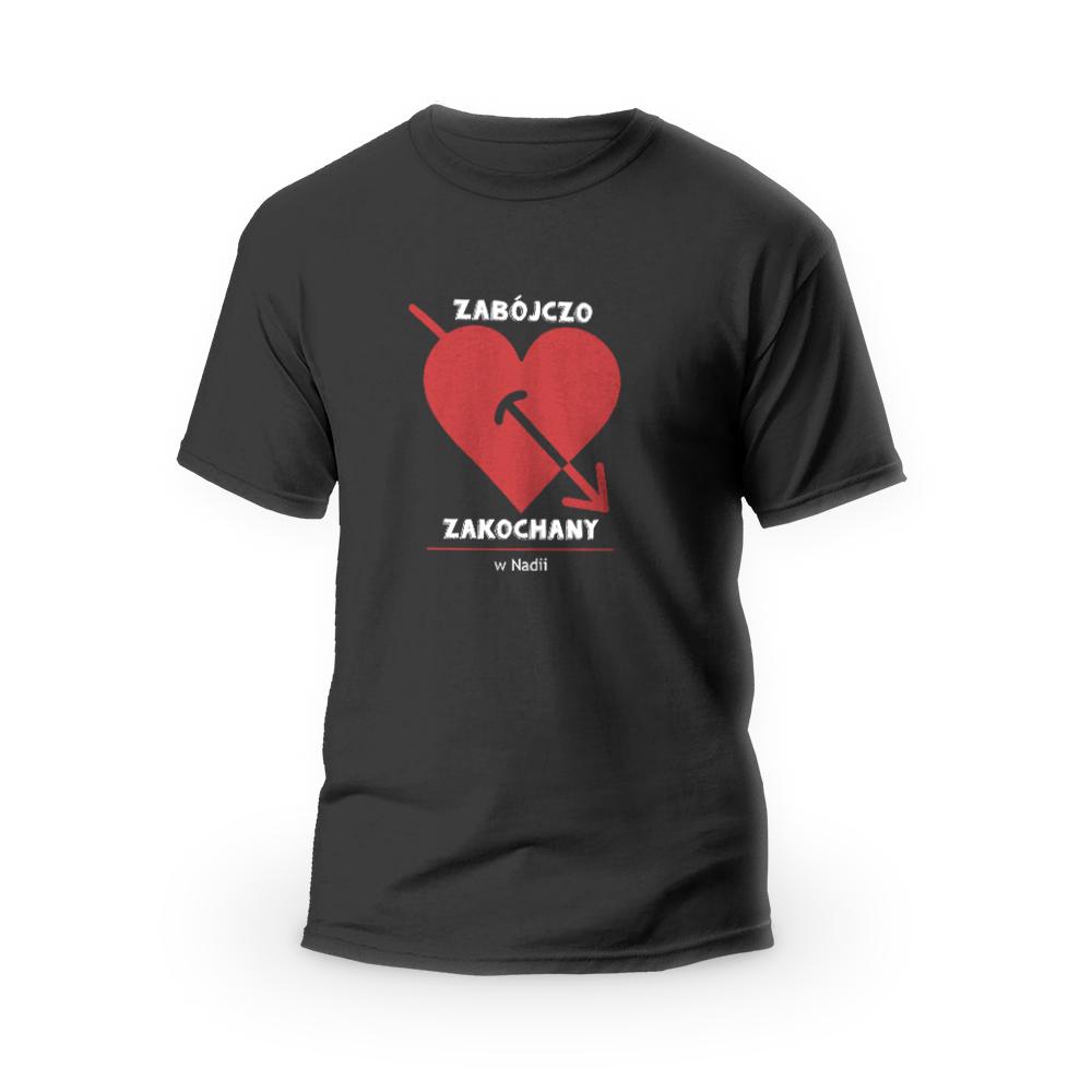 Rozmiar XL - koszulka męska dla chłopaka Zabójczo Zakochany czarna