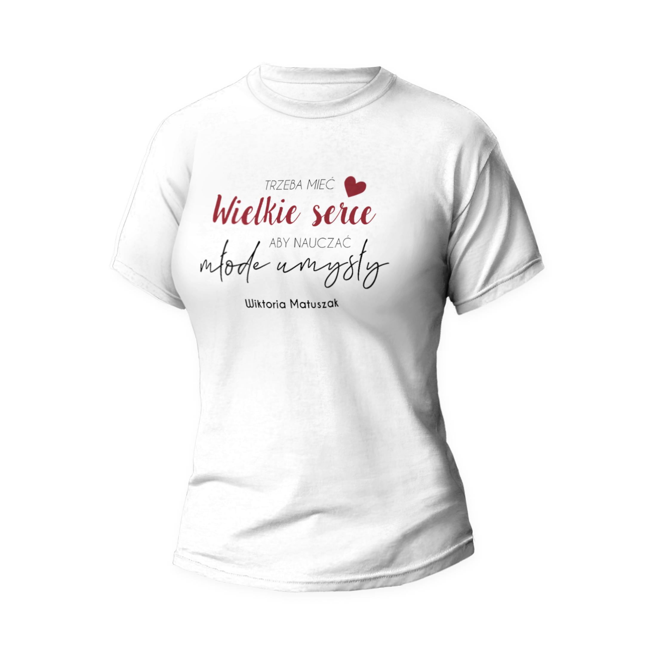 Rozmiar XXL - koszulka dla nauczycielki nauczyciel uczy sercem prezent na dzień nauczyciela