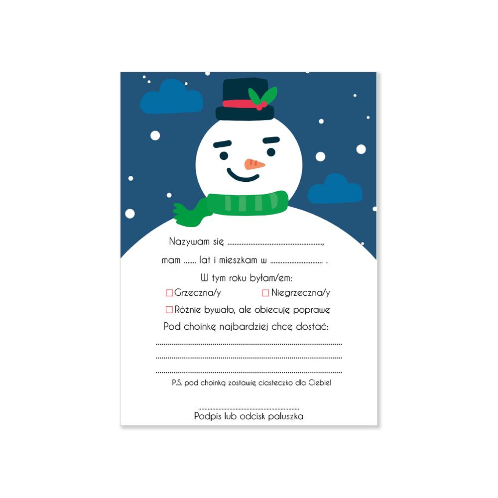List do Mikołaja dla dziecka bałwan bałwanek 4 szt.