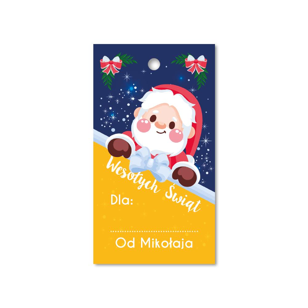 Zawieszki bileciki na prezenty świąteczne Święty Mikołaj Wesołych Świąt